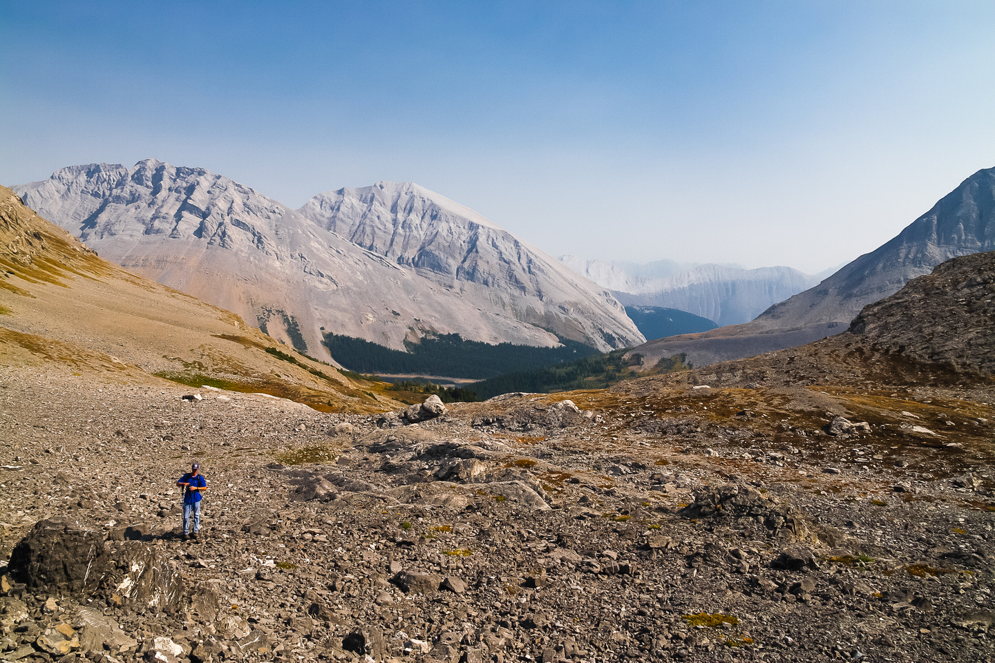 There was an obvious trail in the scree that took us down into the Three Isle headwater valley and towards Three Isle Lake