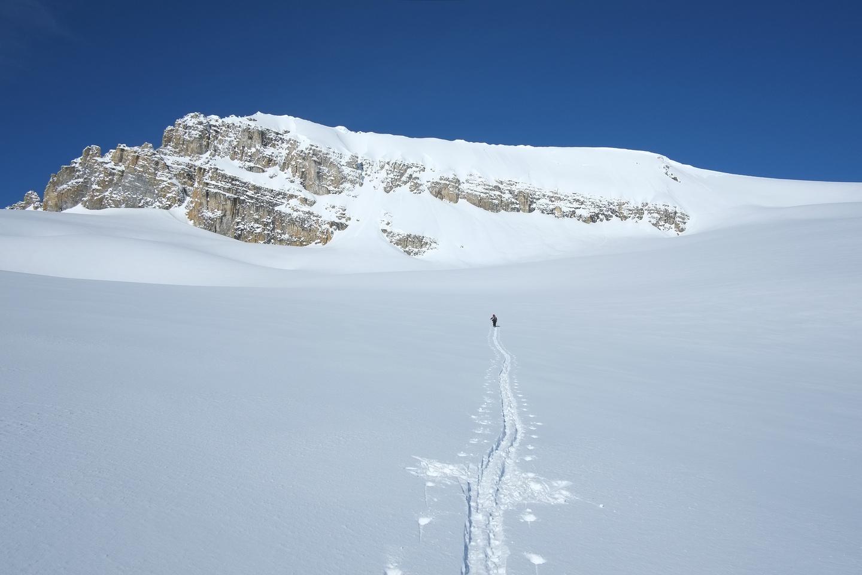 Kev breaks trail towards Habel.