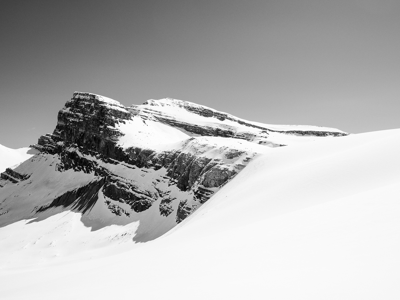 Skiing down the Peyto Glacier headwall.