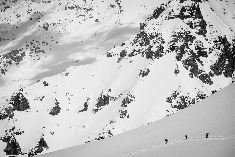 The boys ski up Stutfield NE behind me.