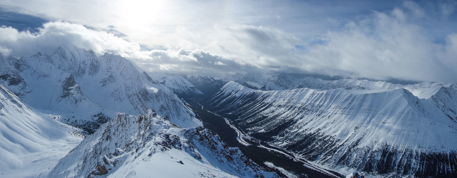 Panorama with Storm on the left and Highwood Ridge on the right.