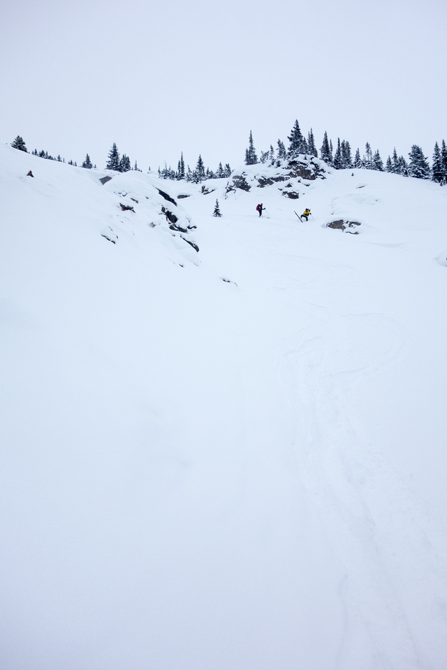 Skiing down the steep gully coming off the Little Crowfoot approach.