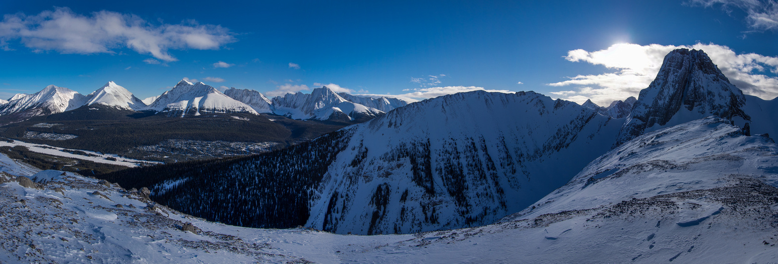 From left to right, Engadine, The Tower, Galatea, Gusty and Chester with Commonwealth Ridge just right of center and Commonwealth Peak on the far right.