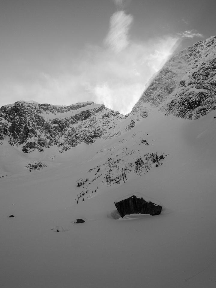 Interesting shadows off the summit of Mount Birdwood.