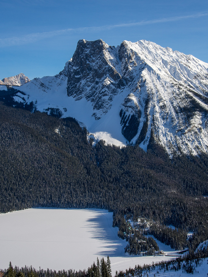 Emerald Lake Lodge sits comfortably beneath a brooding Walcott Peak. I've stayed there and can highly recommend it.