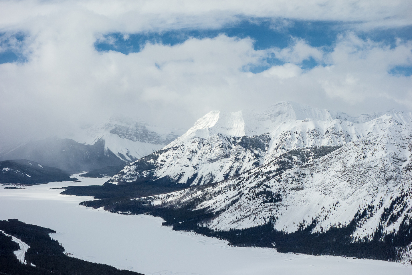 Looking over Mount Fortune and the south end of Spray Lakes.