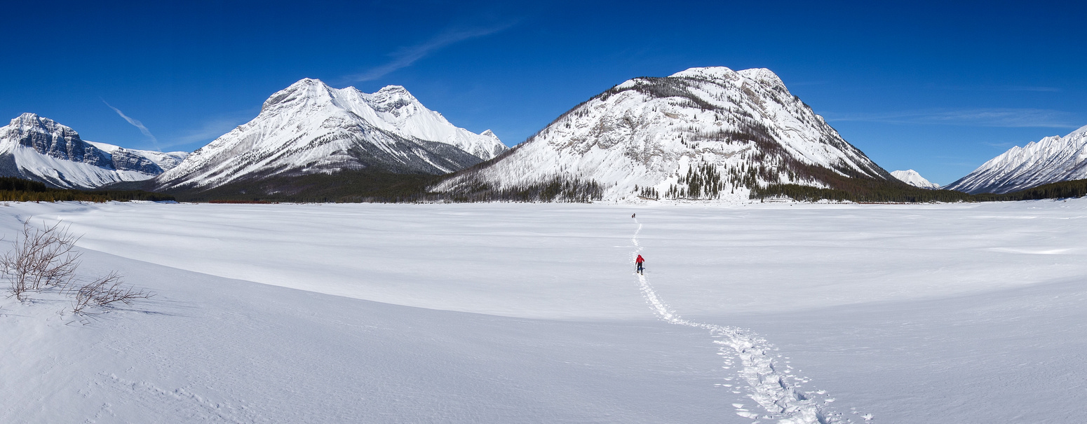 The boys head for Mount Fortune across Spray Lake.