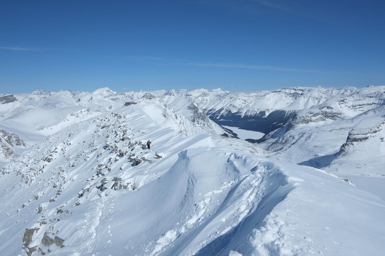 Kev descends the ridge.