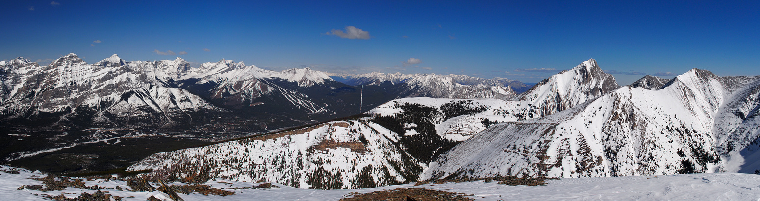 One more pano looking north and west over hwy 40 and Kananaskis Village.