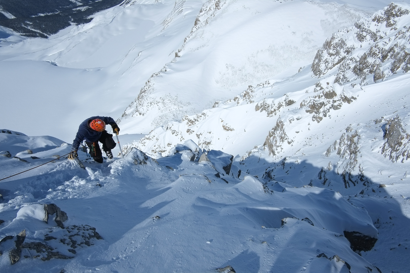 Kev descends to the crux.