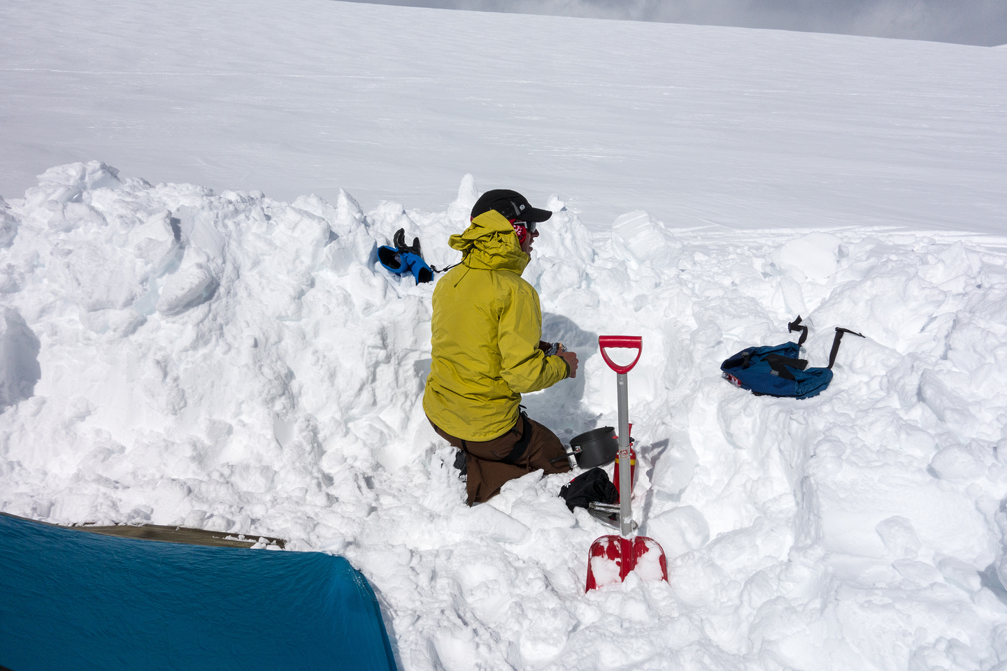 Digging out our camp.
