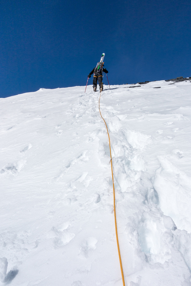 Steep slopes back up North Twin. The skis aren't light either.