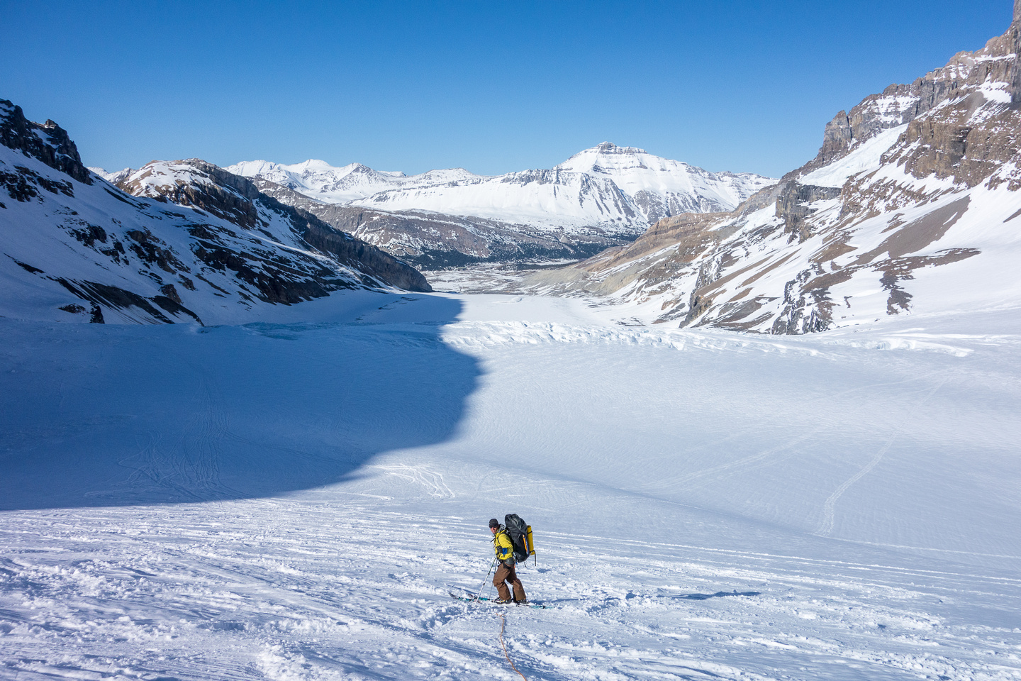 Skiing down, roped, is a PITA but it's necessary when the conditions are thin or dicey.