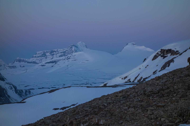 Castleguard and Bryce visible up the Saskatchewan Glacier.