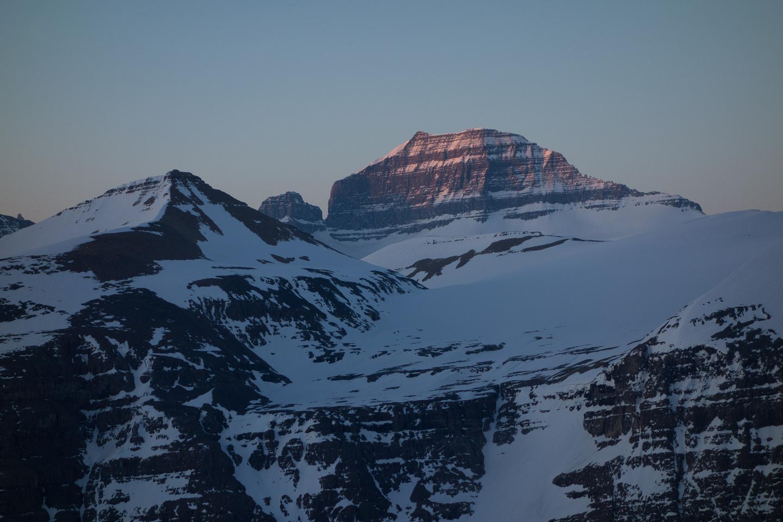 Sunrise on Mount Saskatchewan - Big Bend Peak in the foreground.