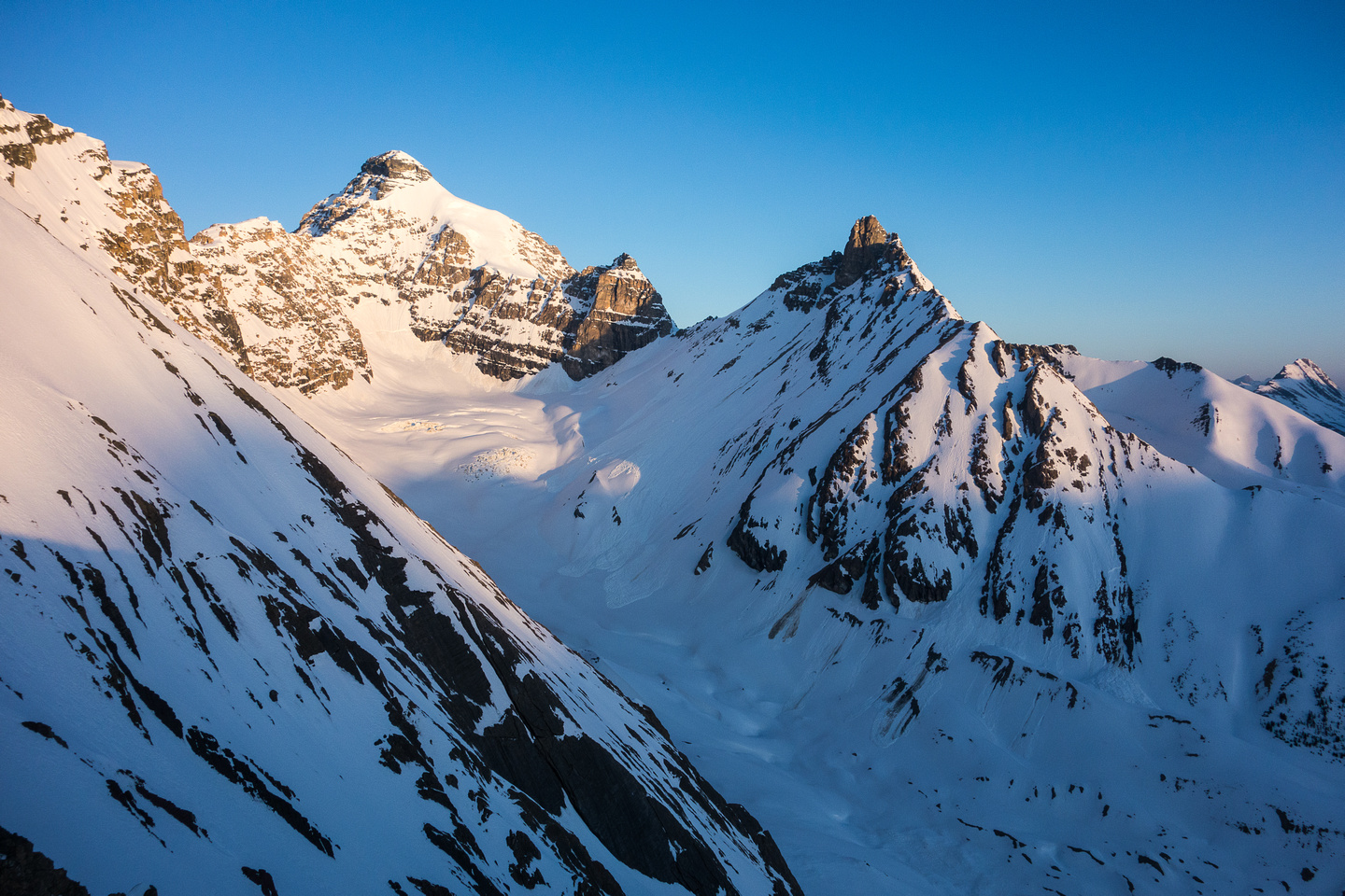 Looking at the Hilda Glacier and peak from the summit of Parker Ridge.