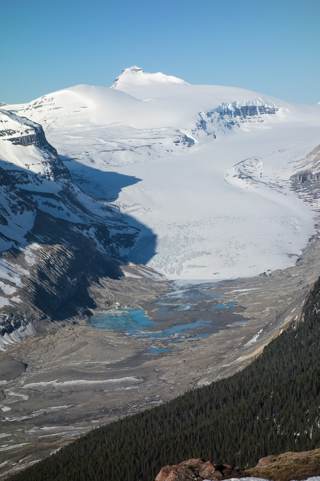 The Saskatchewan Glacier and Castleguard Mountain. It's so much further than it looks.
