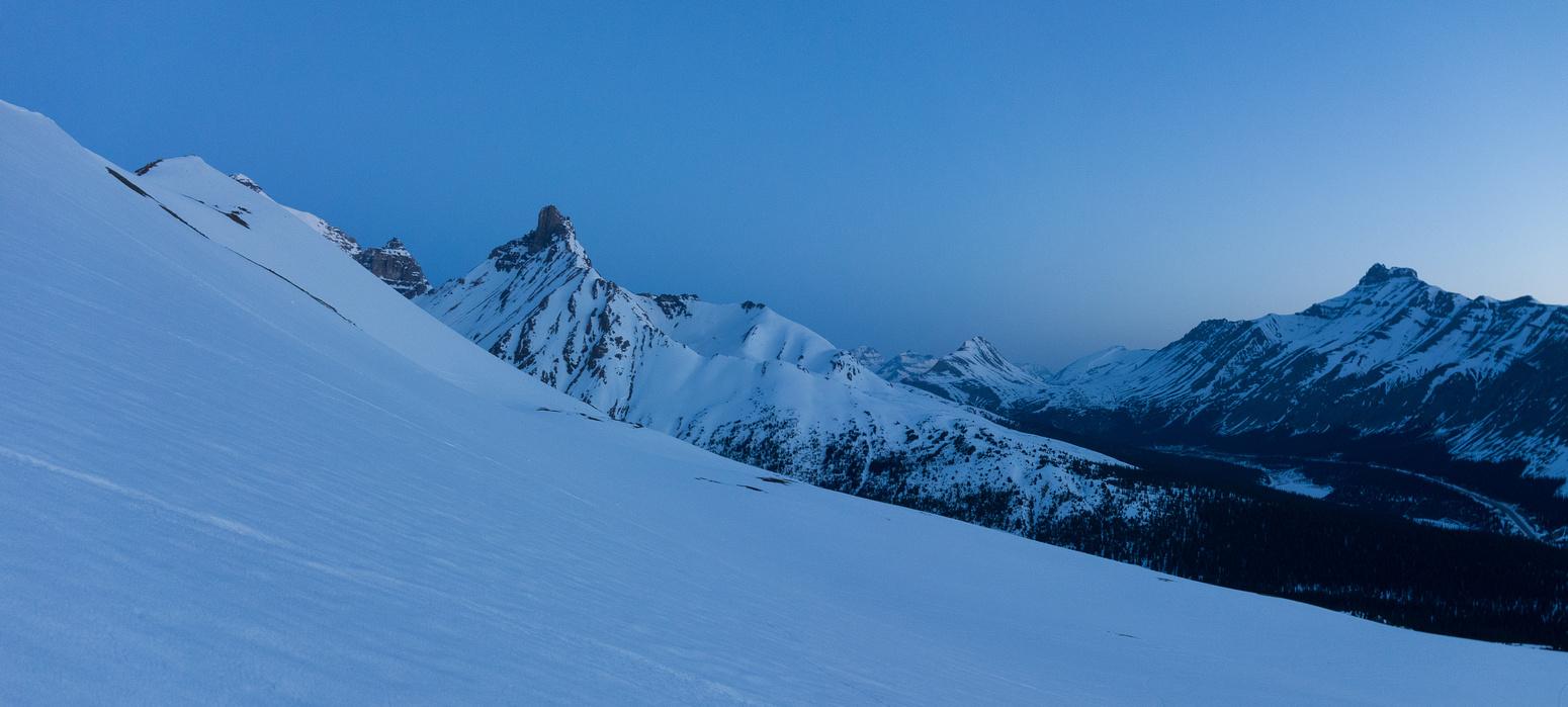 Pre-dawn snowshoeing on Parker Ridge.