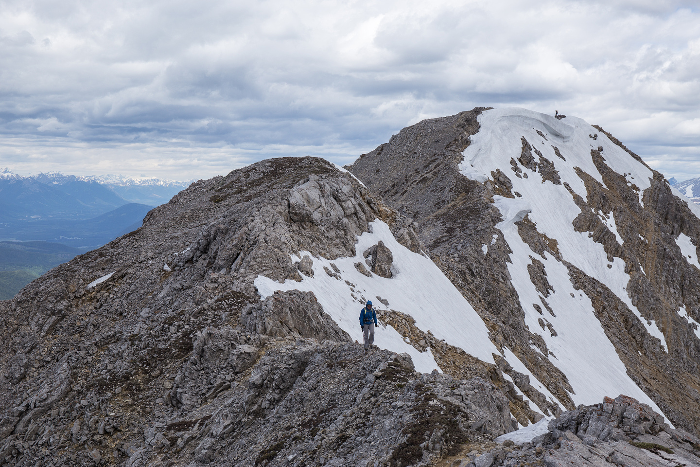 Andrea descends the ridge from the summit.
