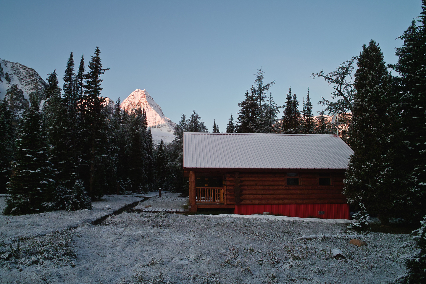 The cook shelter from our front porch and Mount Assiniboine.