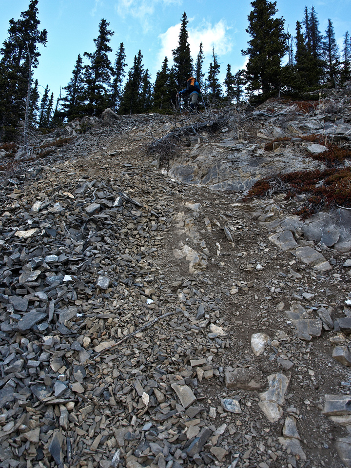 The slopes were steep and loose. The trail would have been easier and faster but it was more fun this way!