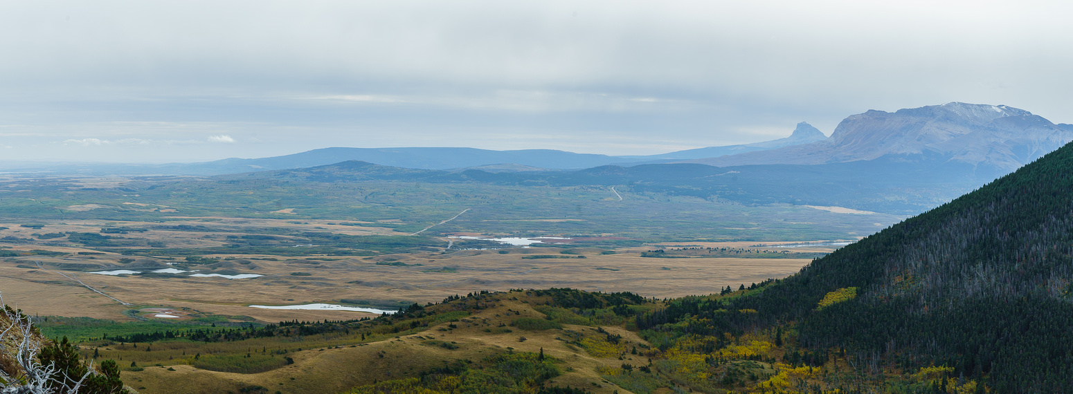 Tele panorama of the prairie just outside of Waterton Park. Chief Mountain and Sofa Mountain on the right.