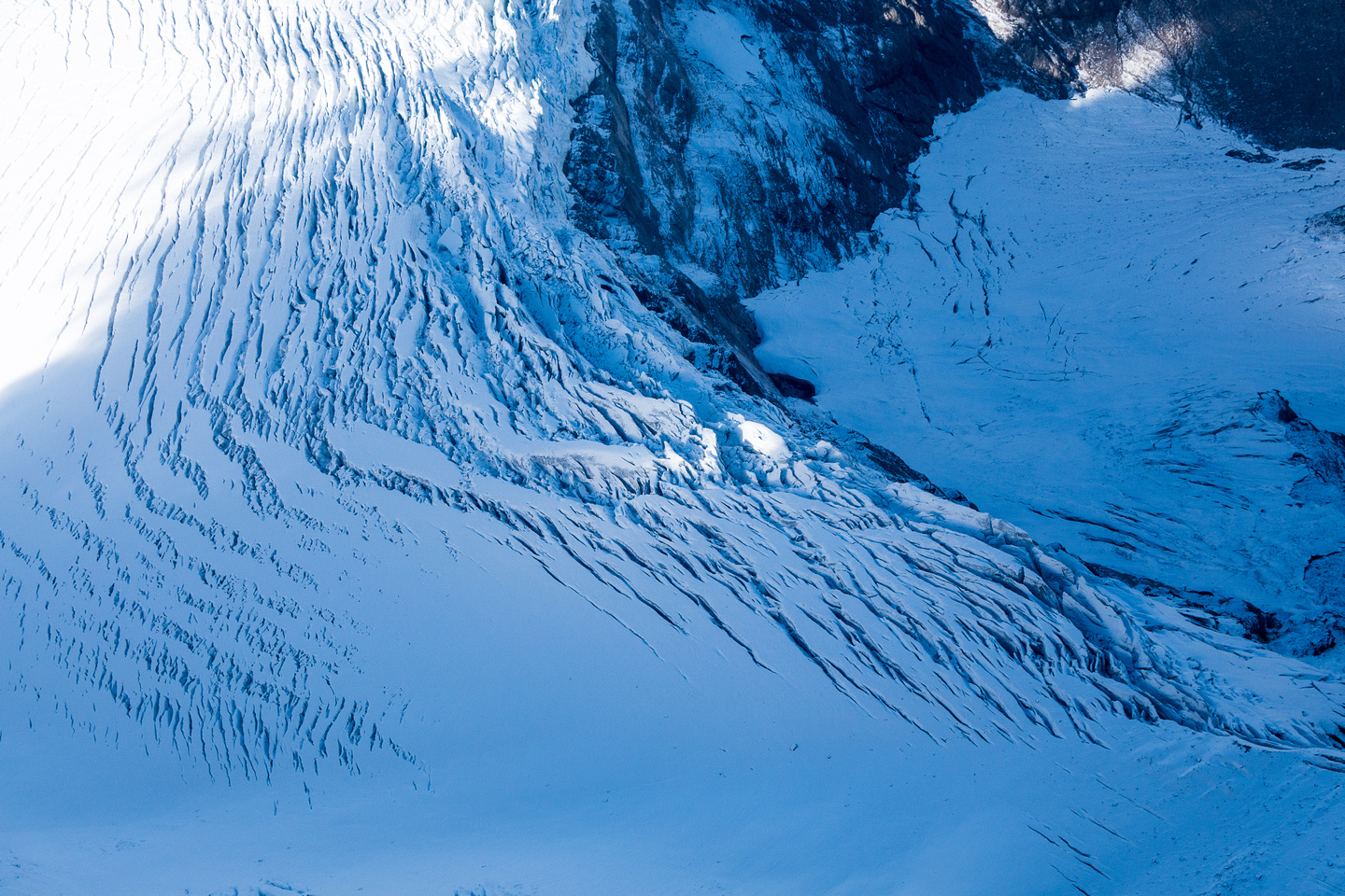 The Mural Glacier Icefall makes an 'easy' ascent of Gendarme much, much less 'easy'.