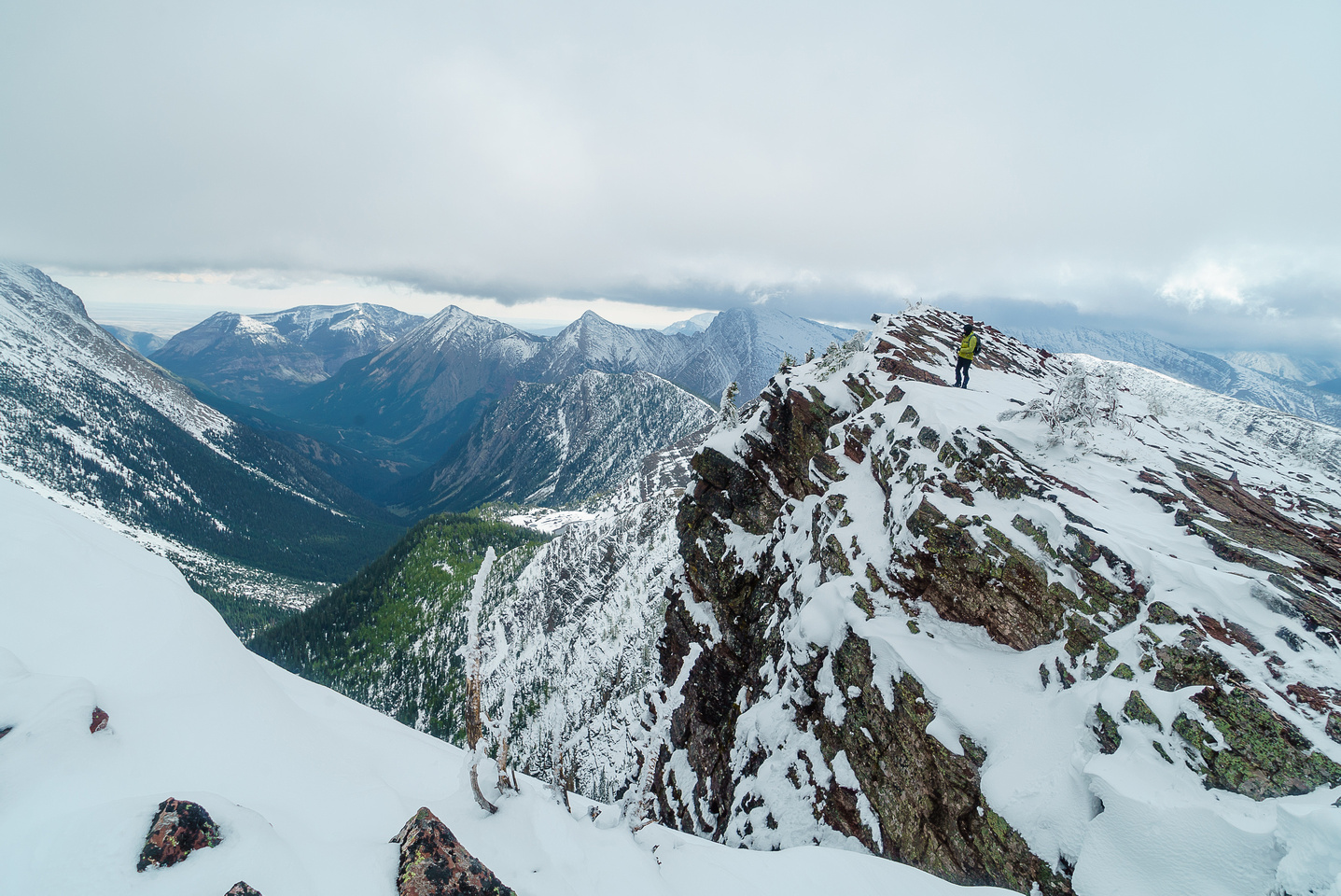 Phil gazes down our approach valley to Rowe lakes as we start the long traverse to Festubert.