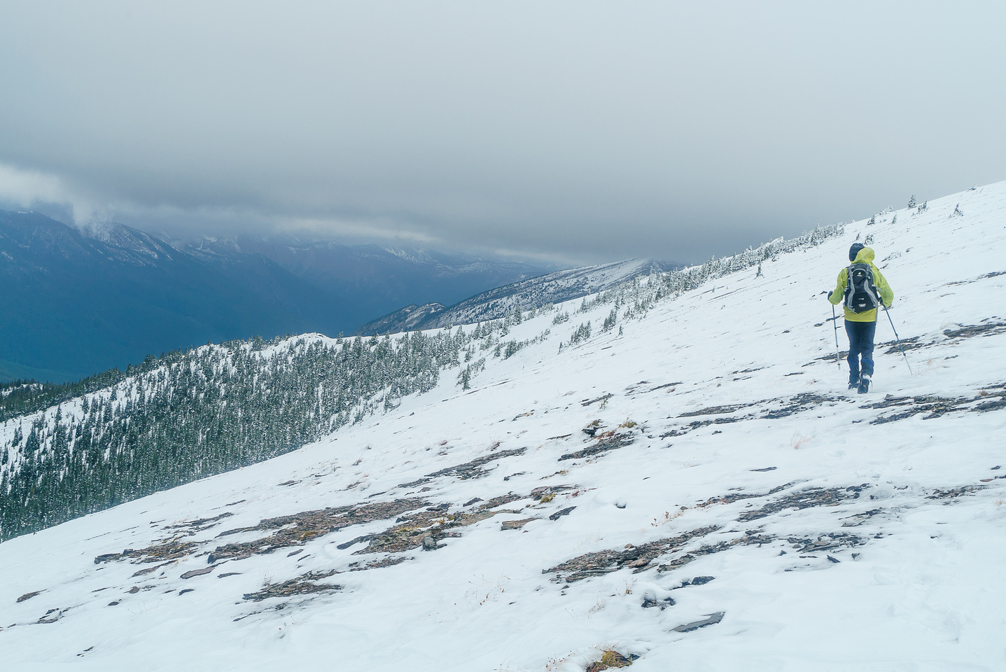 This was the rest of our day - traversing in gray, windy, rainy, cold conditions. It was great fun!