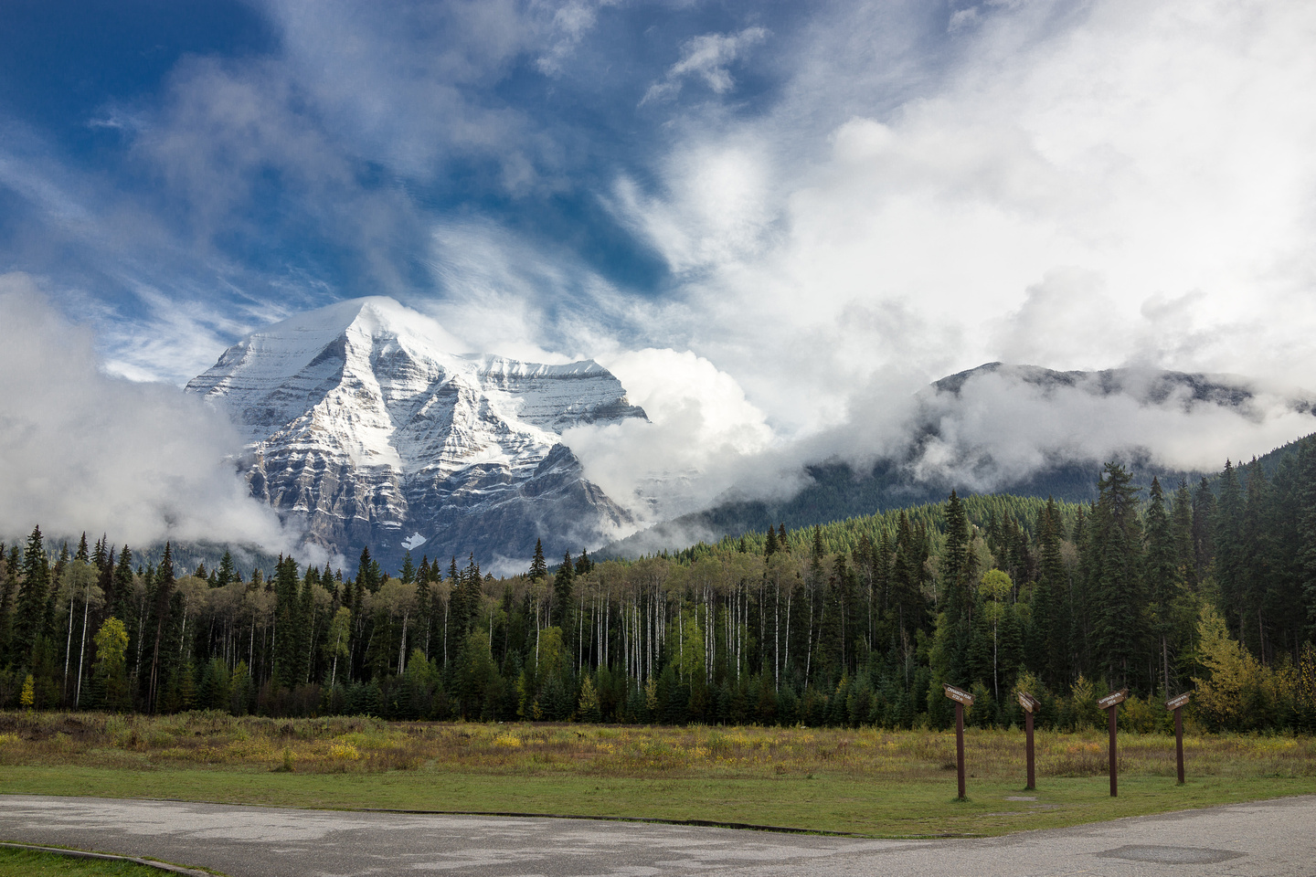Mount Robson looms over the visitor center.