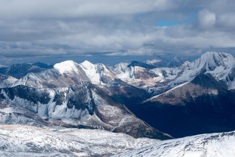 Looking northeast off the summit towards Calumet Peak on the right.