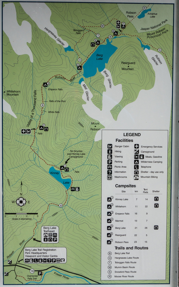 Map of the trail to Berg Lake.