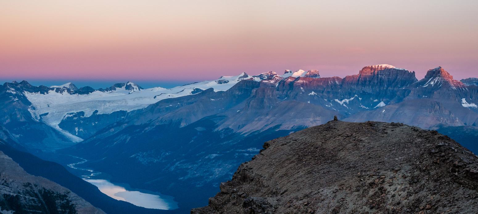 Sunrise on the Lyells above Glacier Lake.