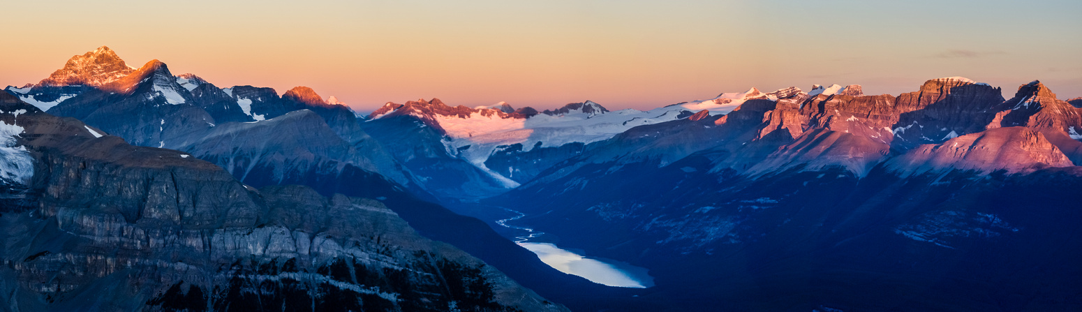 Mount Forbes (L) and the Lyells (R) with Glacier Lake glistening in the morning light.