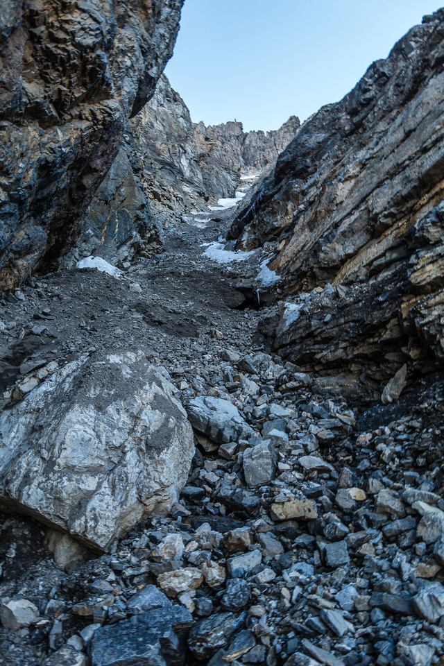 The gullies on Murchison are debris-filled and can have ice in them even late in the season.