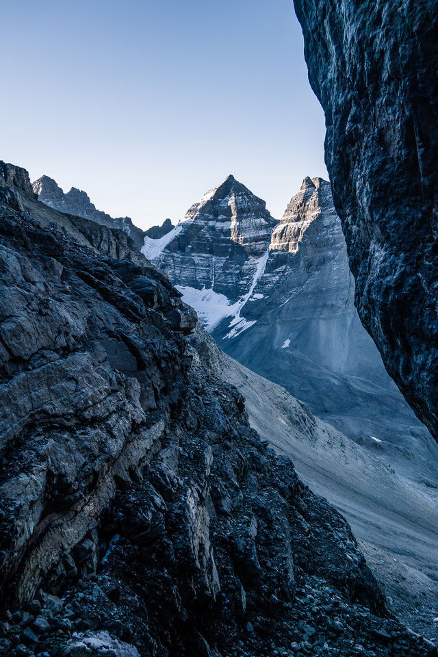 Looking back out of the ascent gully at some of Murchison's towers.