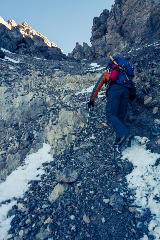 Note the pinnacles looming above us - this is the gully to the NW/SE col.