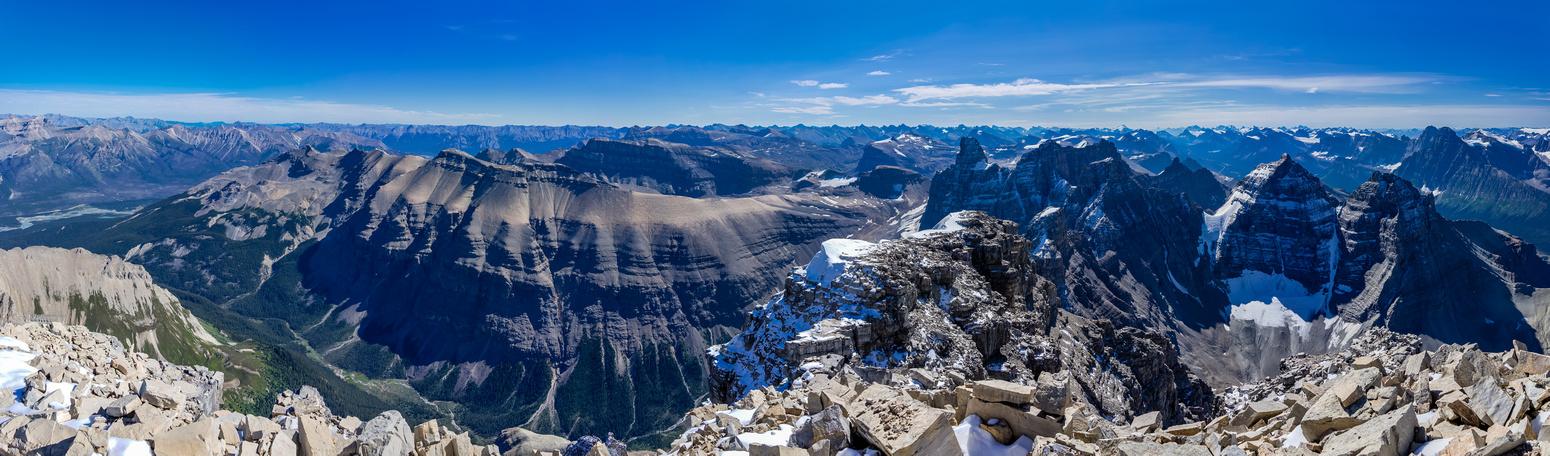 Elliott Peak,  Corona Ridge, Siffleur, Peskett, Loudon, Marmota Peak, Quill, Hector, Chephren, White Pyramid