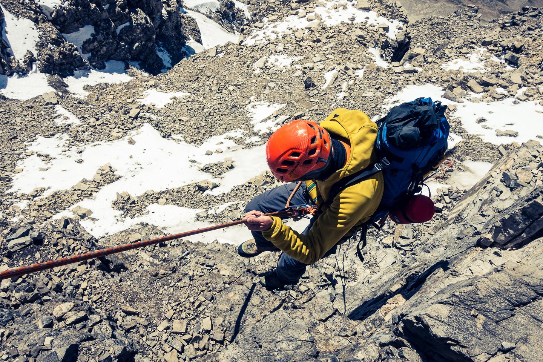 Raf rappels the crux on descent.
