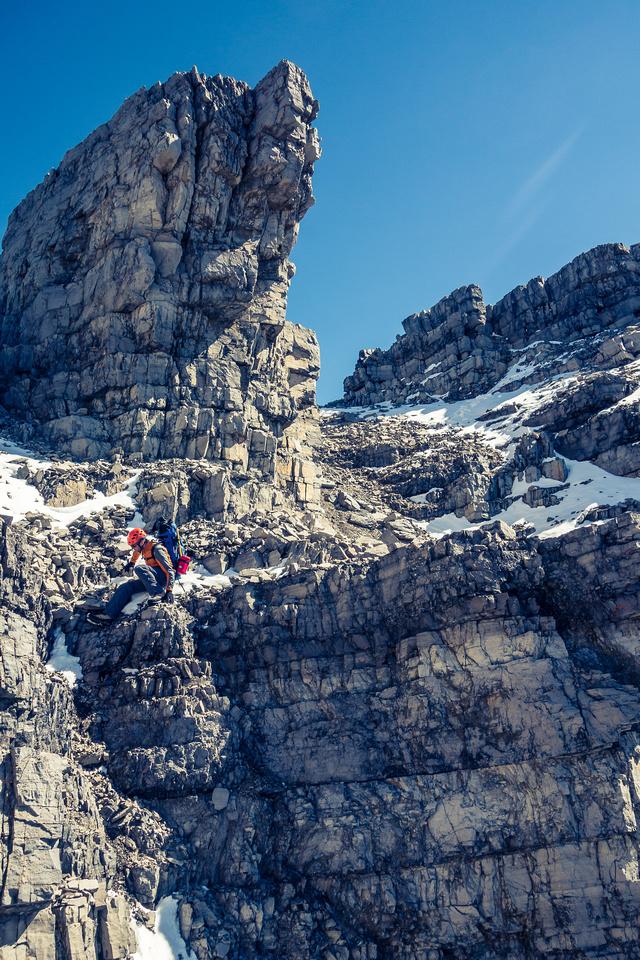 Descending the mountain.