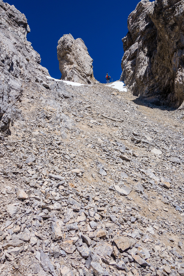 Looking back up at the distinctive pinnacle in the col.