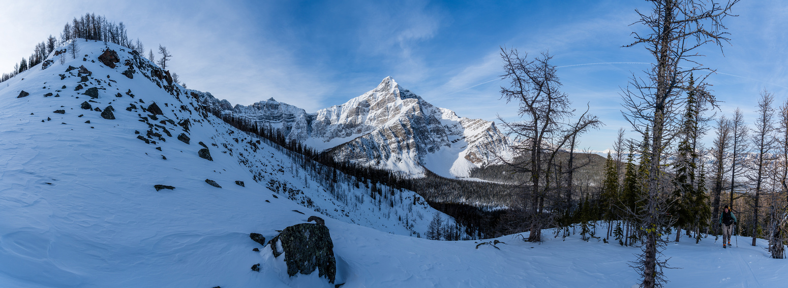 """A steep rocky outcrop was our """"crux"""" of the day. Only concern was the snow slopes on either side."""