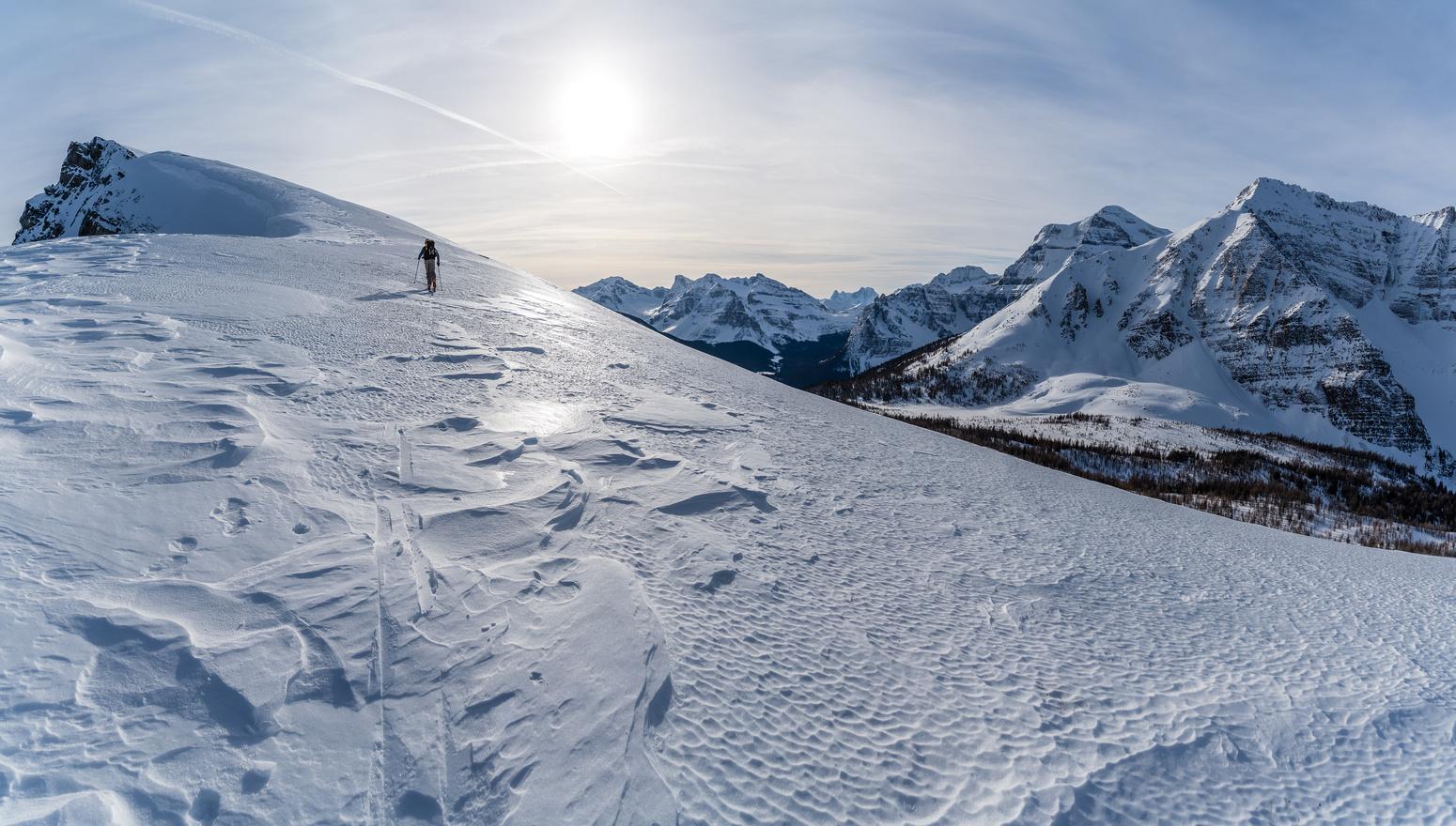 Skinning up the north ridge on hard snow.
