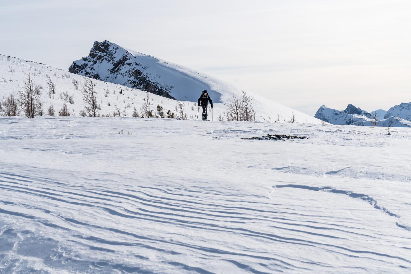 Robb skies back down the icy north ridge.