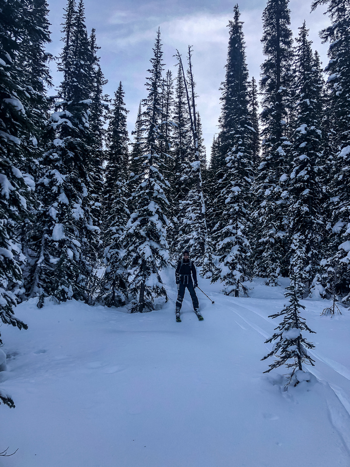 Skiing down the much more open drainage.