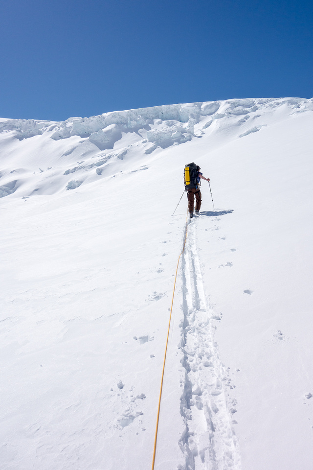 Ascending the ramp to the Columbia neve - this is the key terrain feature that makes the Athabasca Glacier approach to the main ice field feasible.