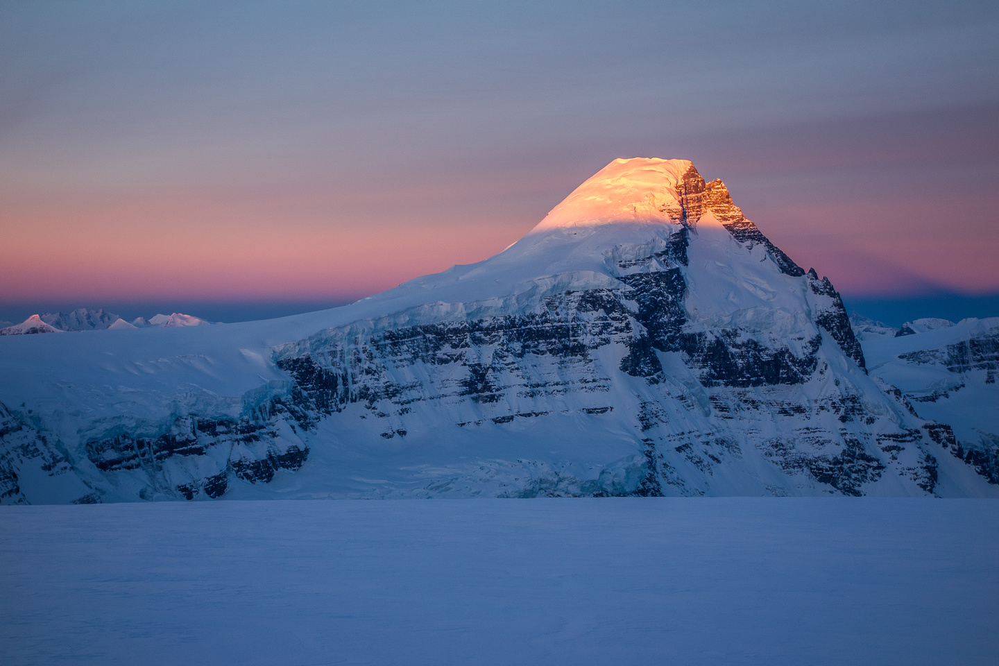 Mount Columbia casts an early morning shadow.