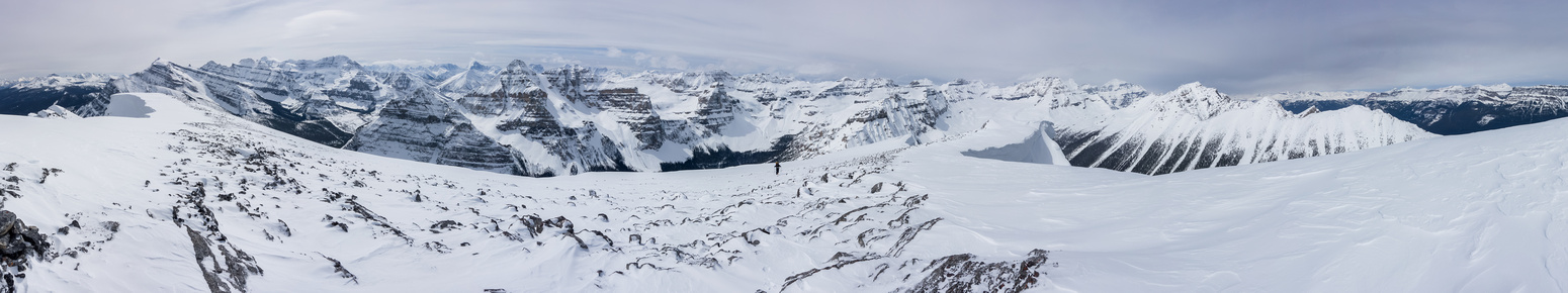 Summit panorama from Storm, Ball, Stanley and Whymper on the left to the Lake Louise peaks at center and on the right.