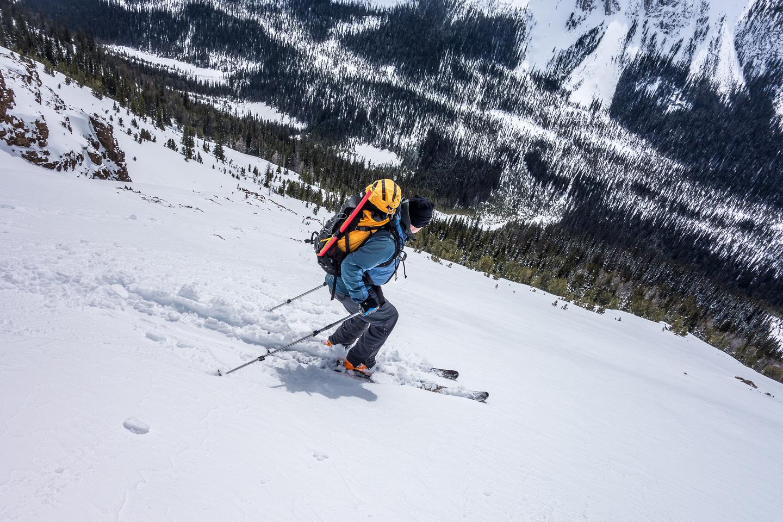 Wietse skis the upper avy slope.