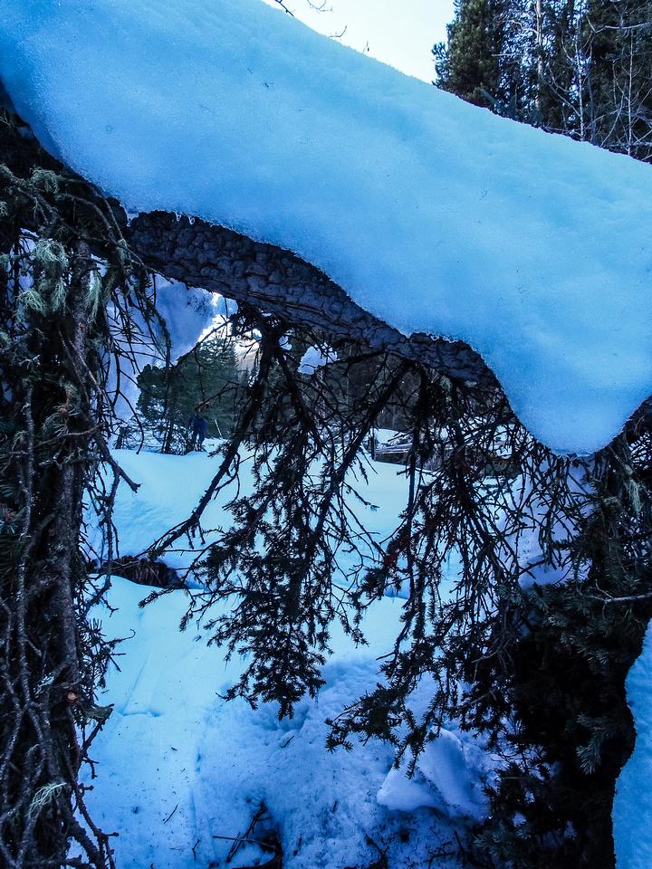 The stream isn't ideal ski terrain lower down.
